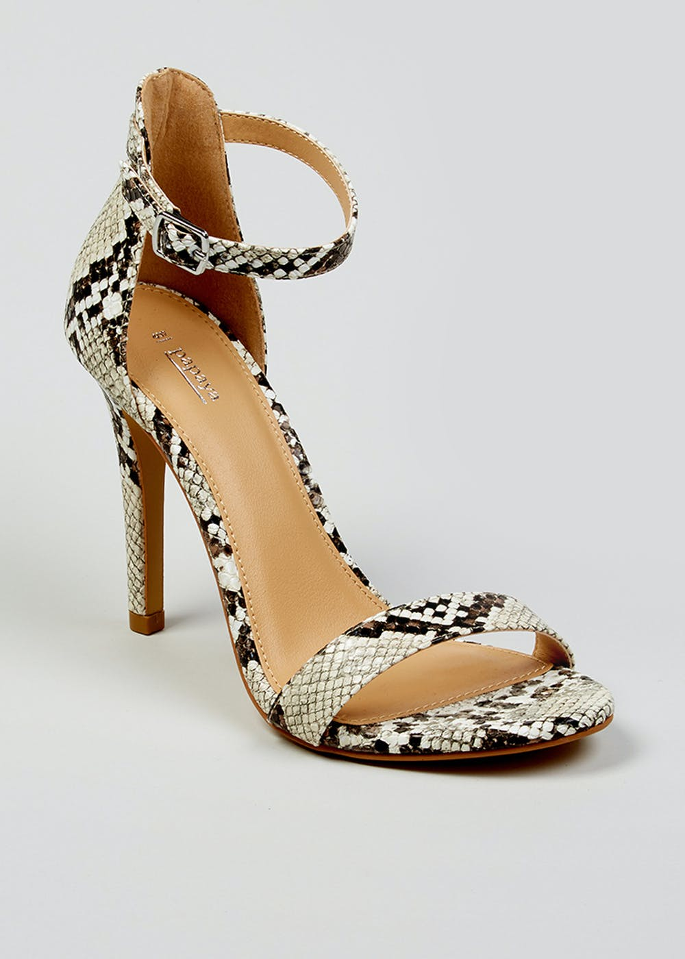 72f68263555906 Faux Snake Skin Barely There Strappy Heels – Beige – Matalan