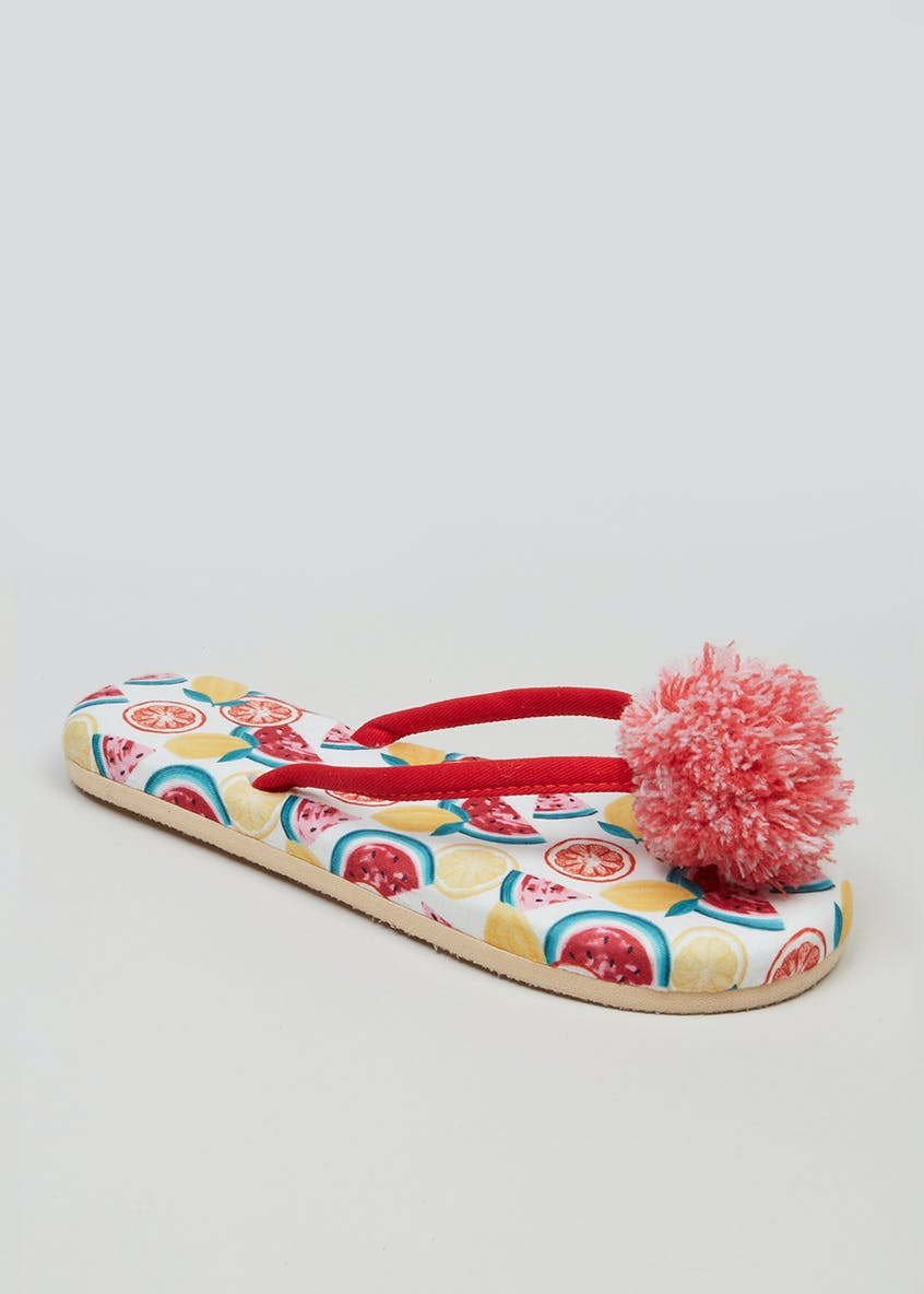 Fruit Pom Pom Toe Post Slippers