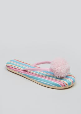 2178a201556 Stripe Pom Pom Toe Post Slippers