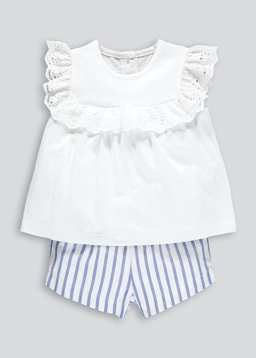 Girls Frill T-Shirt & Stripe Shorts (Newborn-18mths)