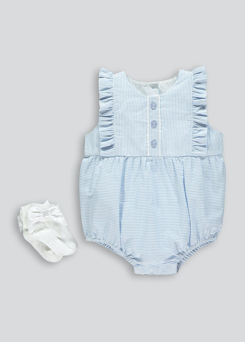 Unisex Stripe Romper & Socks Set (Newborn-18mths)