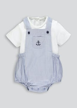 05400377a Unisex Nautical Romper Cardigan Bodysuit & Socks Set (Newborn-18mths)