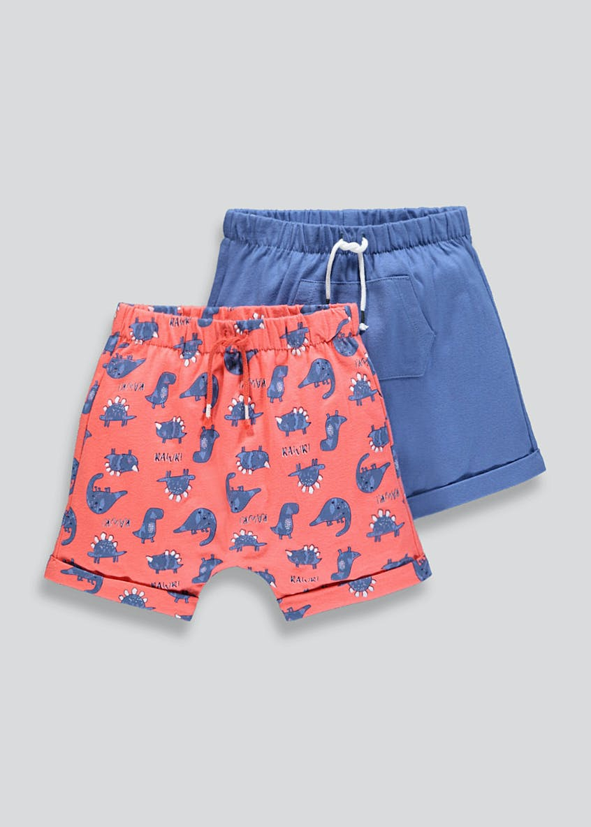 Unisex 2 Pack Dinosaur Shorts (Tiny Baby-23mths)