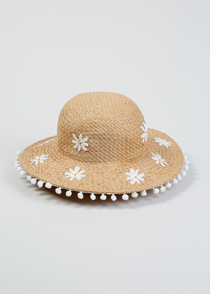 Girls Daisy Straw Floppy Hat (4-13yrs)