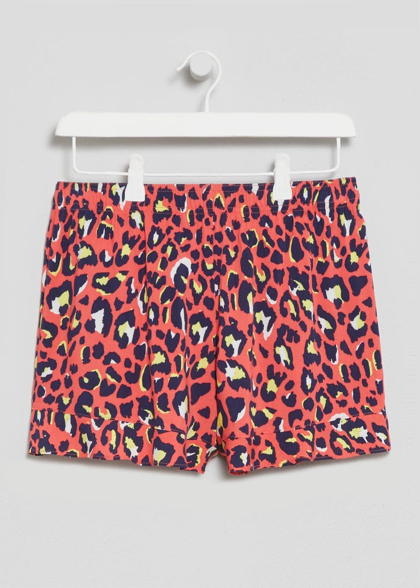 Animal Print Frill Viscose Shorts