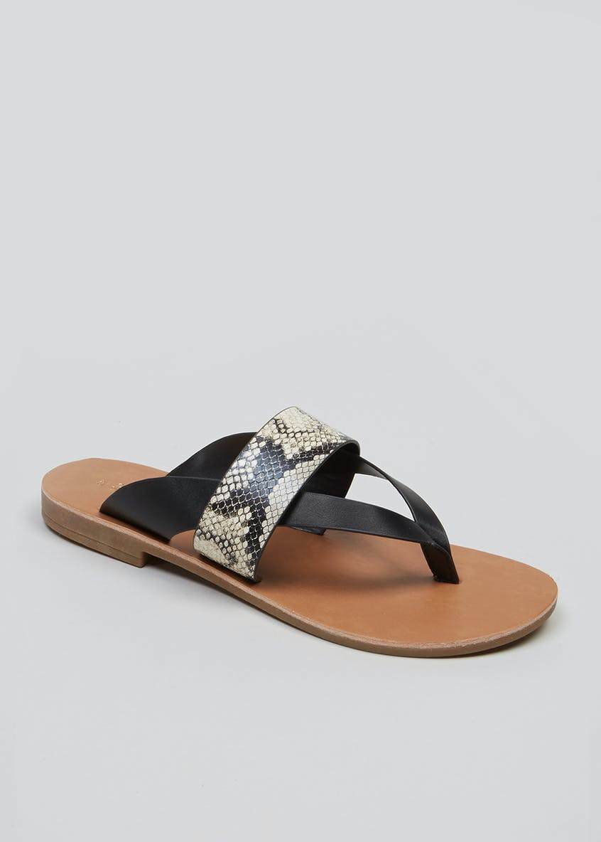 Wide Fit Faux Snake Skin Toe Post Sandals