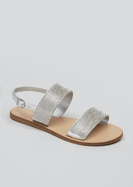 b32a4f9891e Diamante Double Strap Sandals