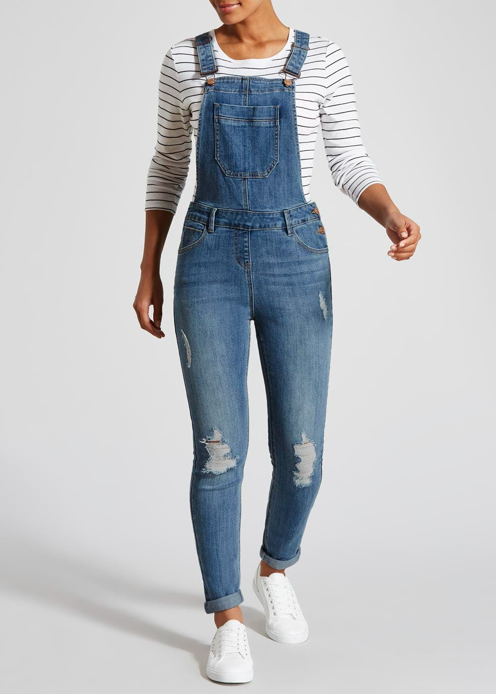 professional 60% clearance official store Riley Ripped Boyfriend Denim Dungarees