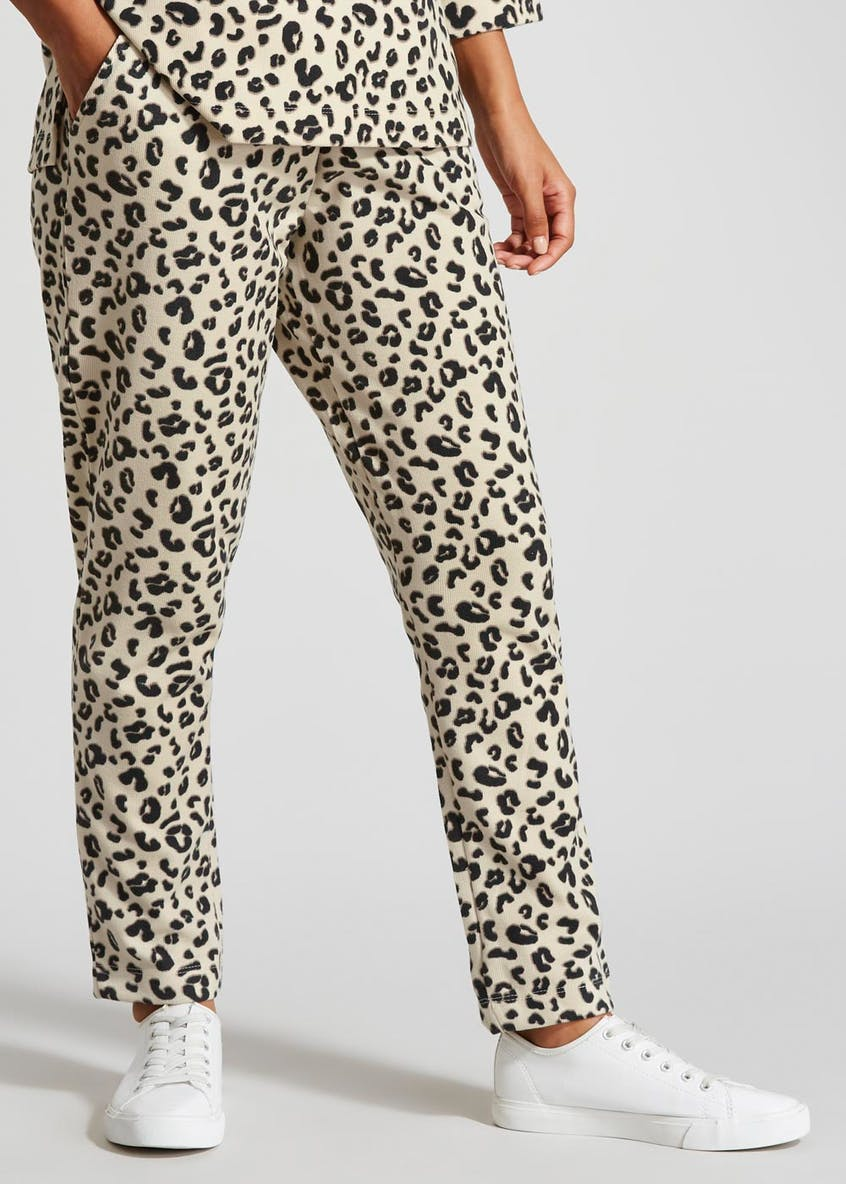Animal Print Ribbed Co-Ord Jogging Bottoms