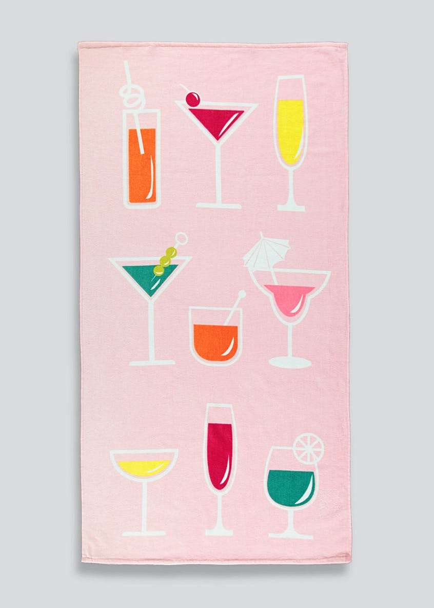Cocktail Print Beach Towel (150cm x 75cm)