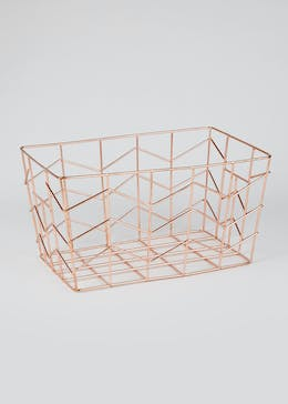 Rose Gold Metal Basket (25cm x 18cm x 15cm)