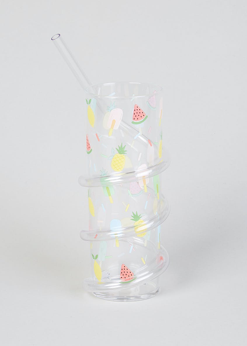 Fruit Print Twist Straw Tumbler (17cm x 6cm)