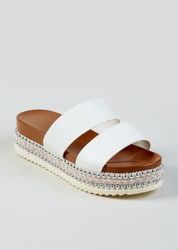 dafa8a7d9e8b Double Strap Beaded Flatform Sandals