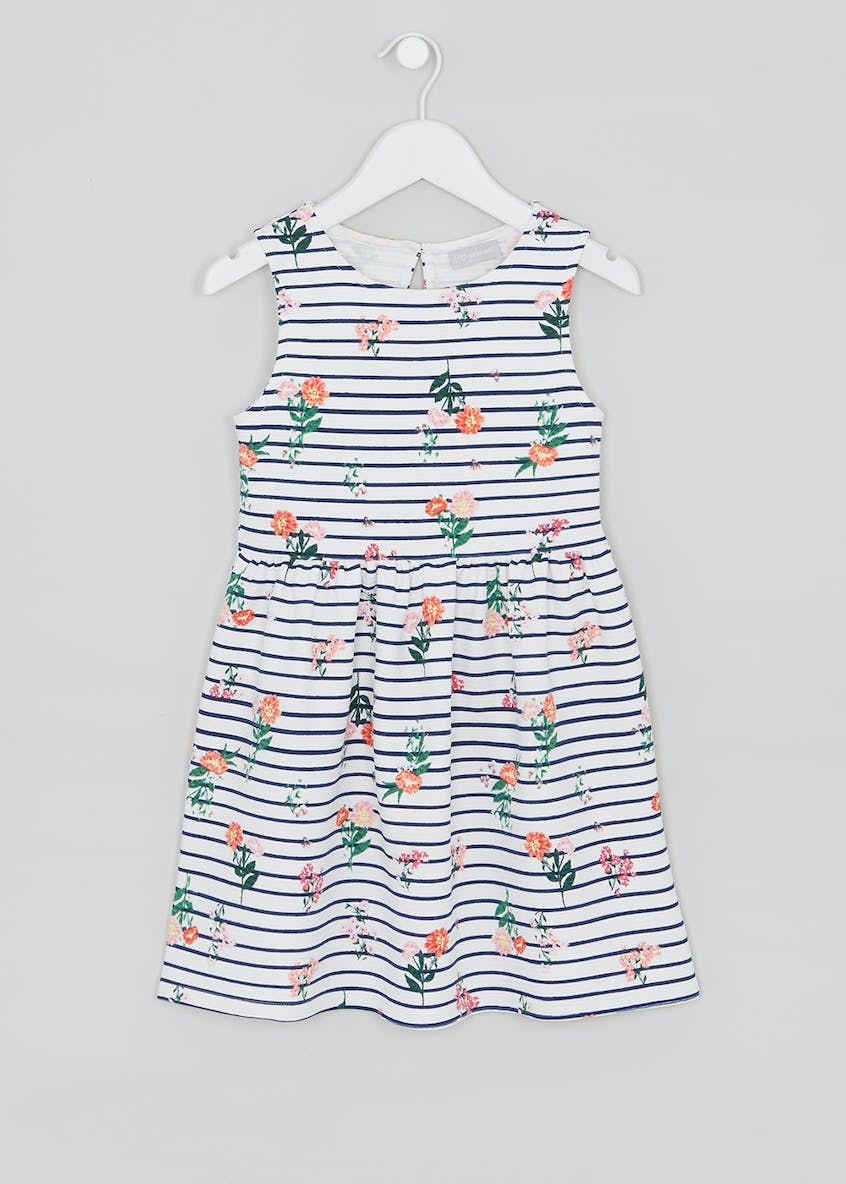 Girls Floral Stripe Dress (4-13yrs)
