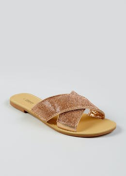 44000ab2748 Diamante Cross Strap Mule Sandals