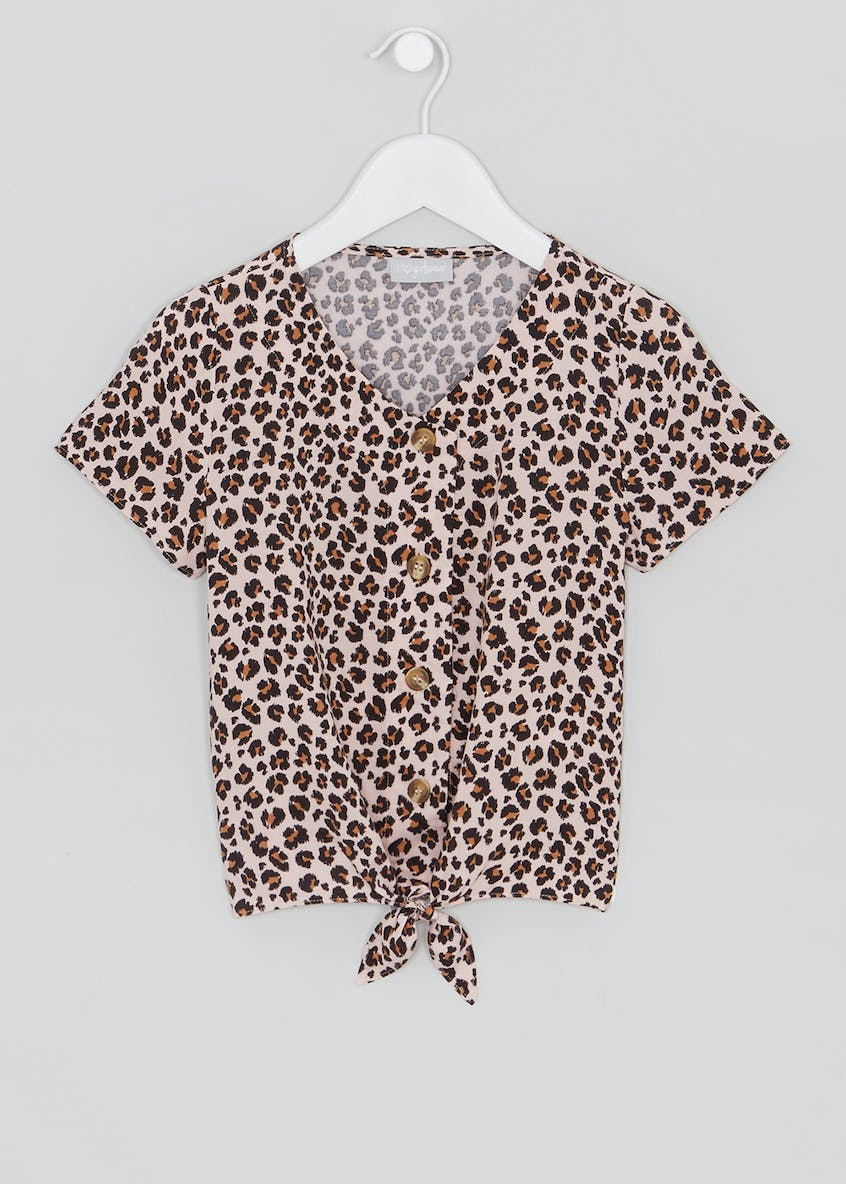 Girls Leopard Print Tie Front Blouse (4-13yrs)