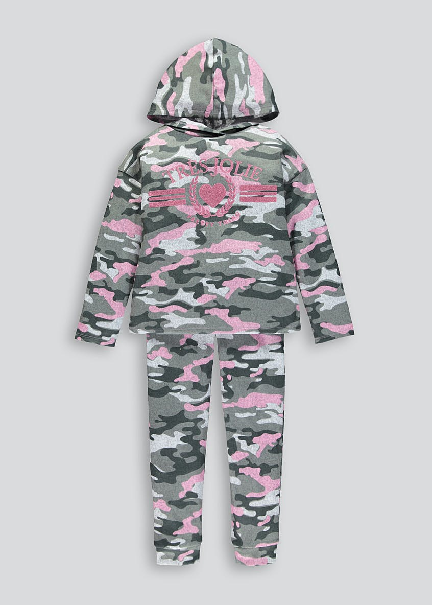 Girls Camo Hoodie & Jogging Bottoms Set (4-13yrs)