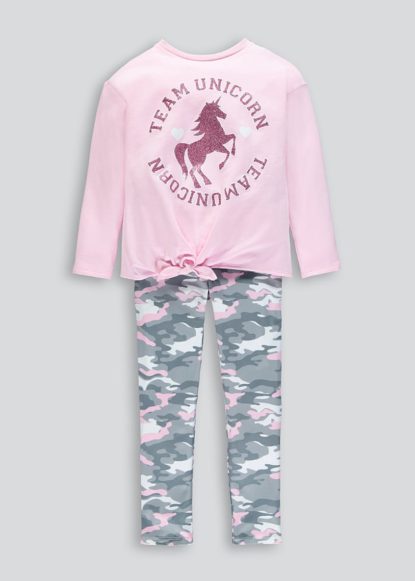 Girls Unicorn Top & Camo Leggings Set (4-13yrs)
