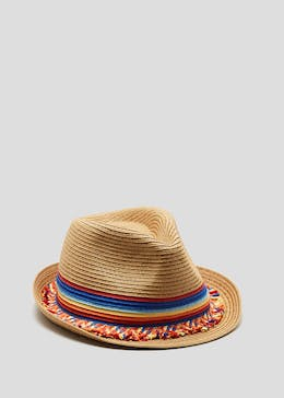 Rainbow Straw Trilby Hat
