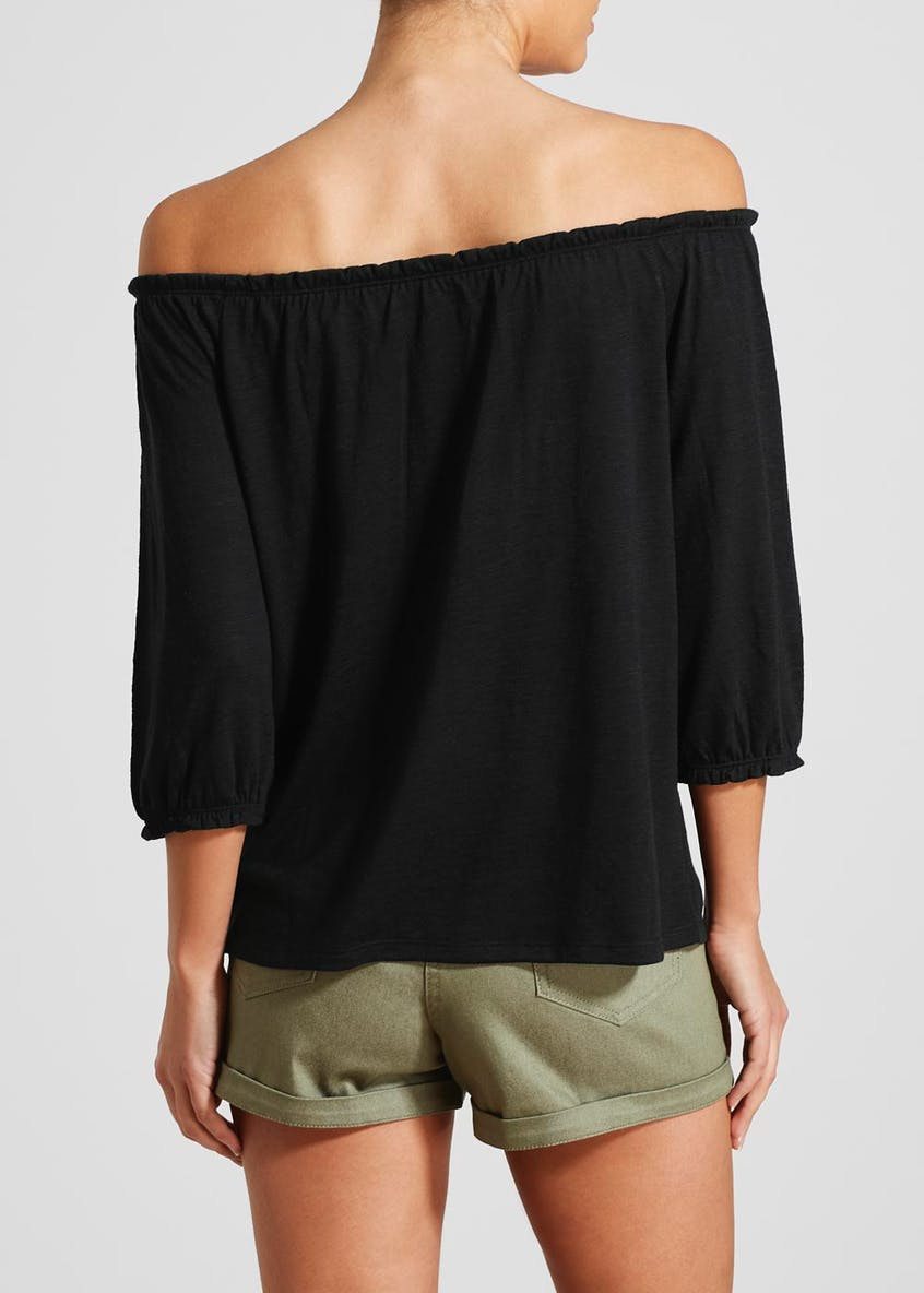 Papaya Petite Button Front Bardot Top