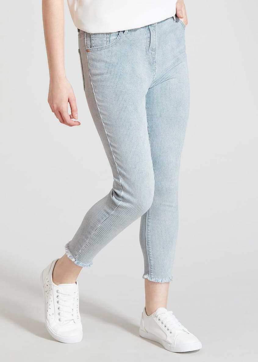 Papaya Petite April Stripe Super Skinny Ankle Grazer Jeans