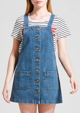 7f3dd7f1d6ca1 Papaya Petite Button Front Denim Pinafore Dress