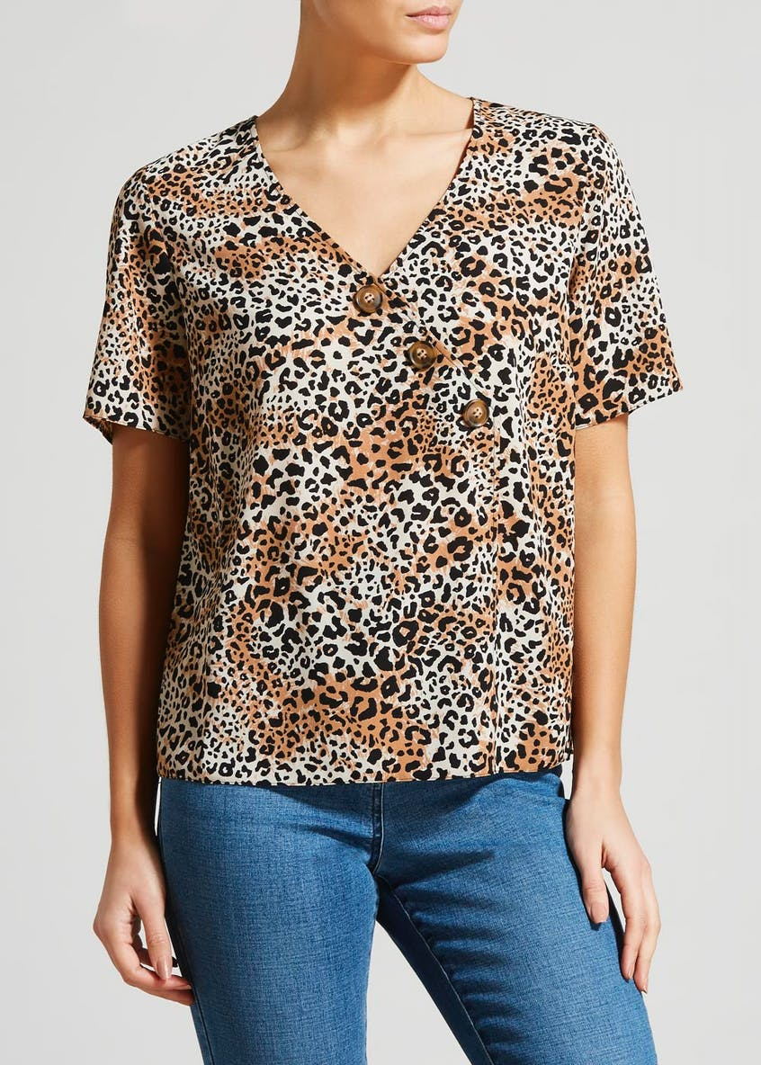 Animal Print Asymmetric Button Front Blouse