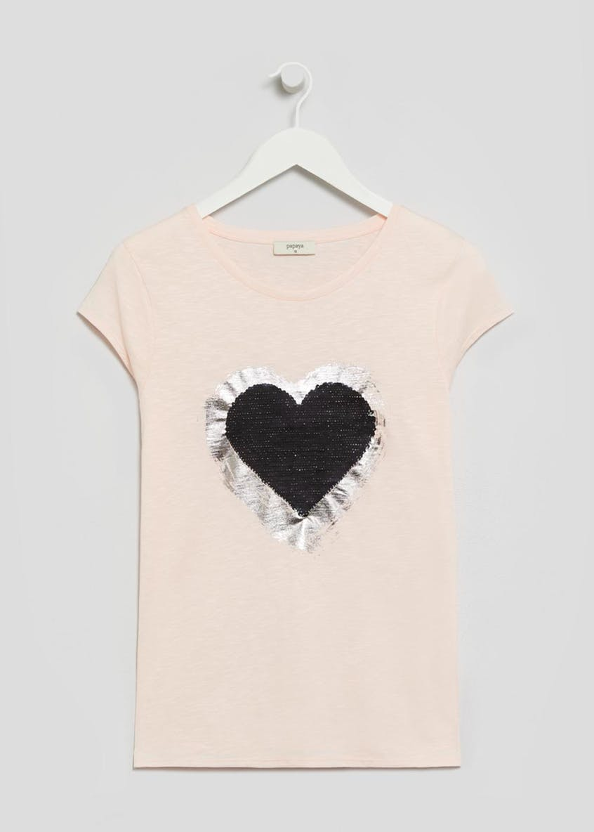 Heart Two Tone Sequin T-Shirt