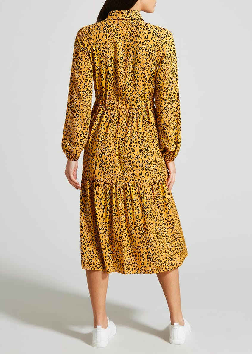 Animal Print Tiered Shirt Dress