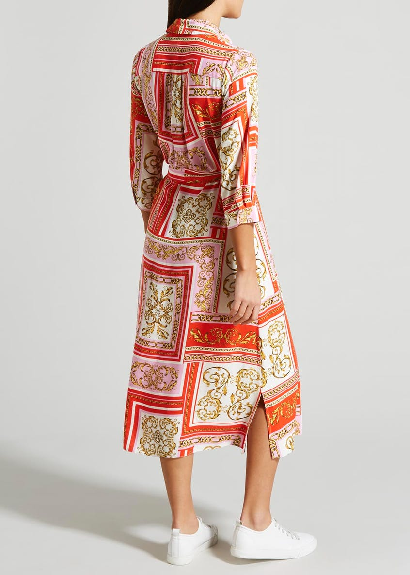 Chain Scarf Print Midi Shirt Dress