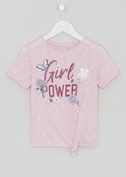 Girls Girl Power Tie Front T-Shirt (4-13yrs)