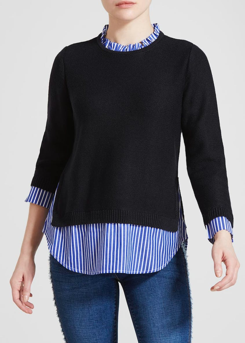 Papaya Petite 2 in 1 Stripe Shirt Jumper