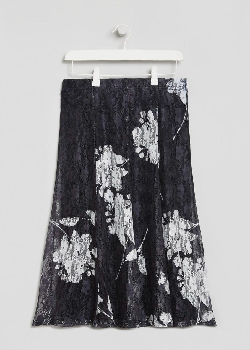 Floral Lace Midi Skirt