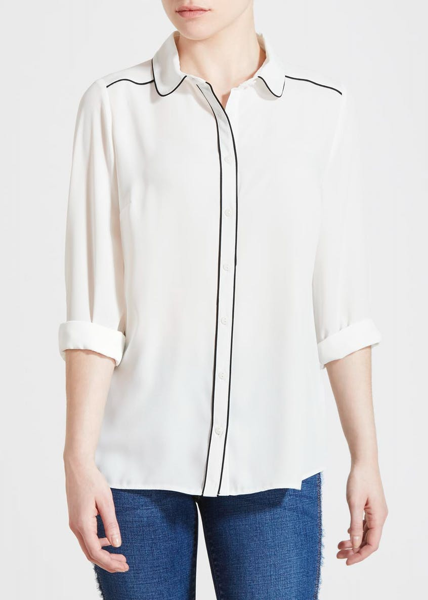 Papaya Petite Contrast Piped Blouse