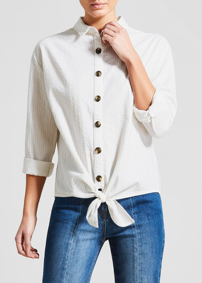 Button Tie Front Shirt