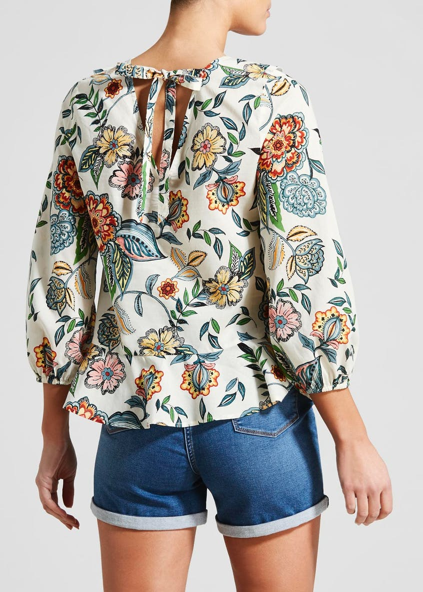Floral Ruffle Front Blouse