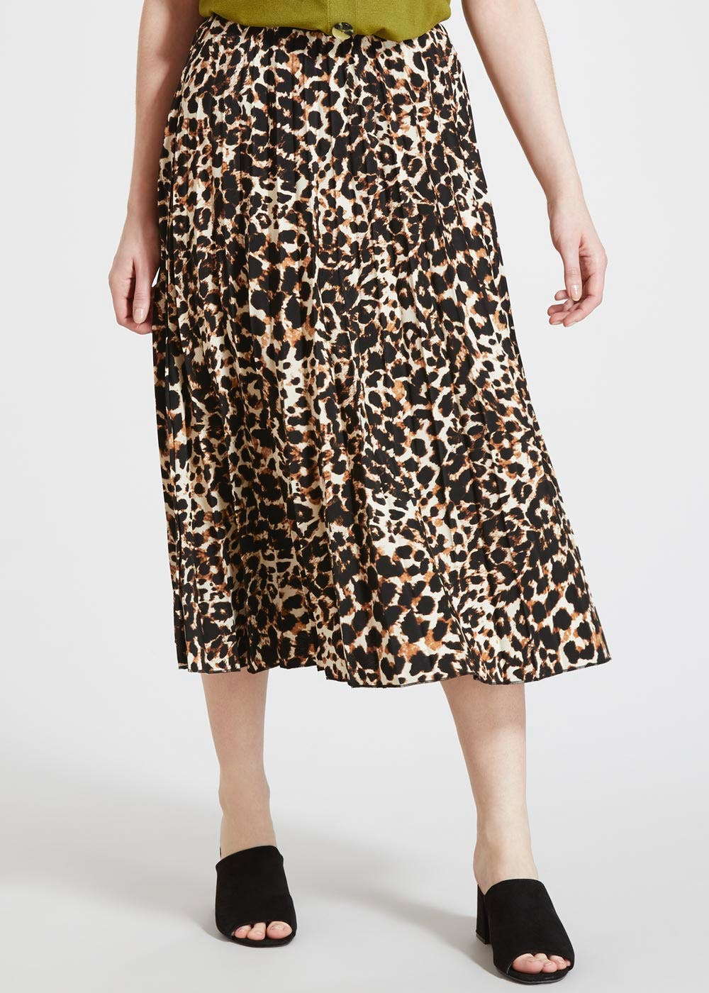 Clothing, Shoes & Accessories Women's Clothing Papaya Pleated Animal Print Skirt Size 14
