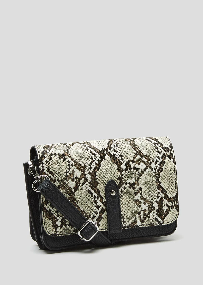 Faux Snake Skin Eyelet Edge Cross-Body Bag