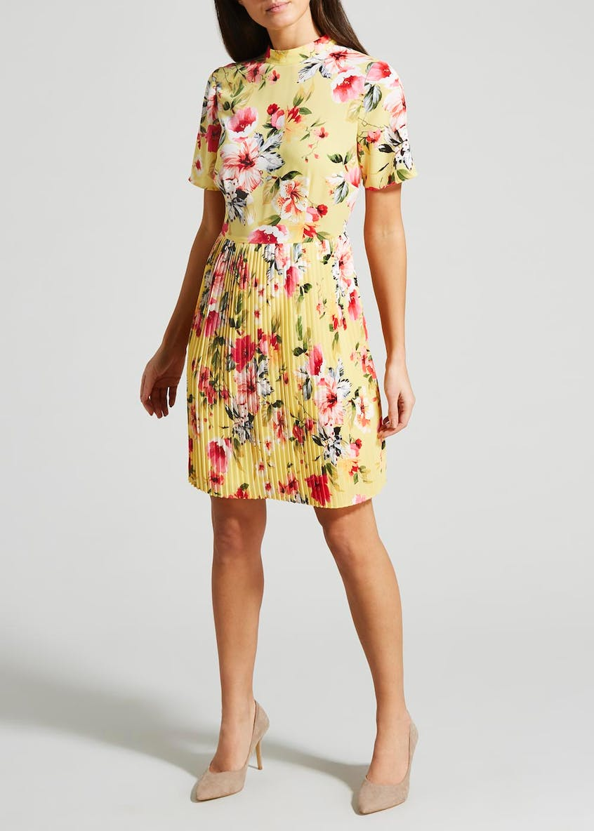 Floral Pleated Short Sleeve Dress