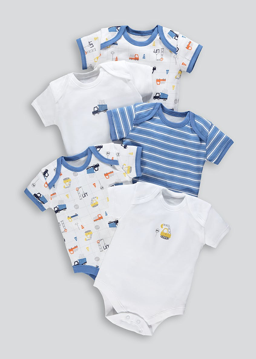 Unisex 5 Pack Printed Bodysuits (Tiny Baby-23mths)