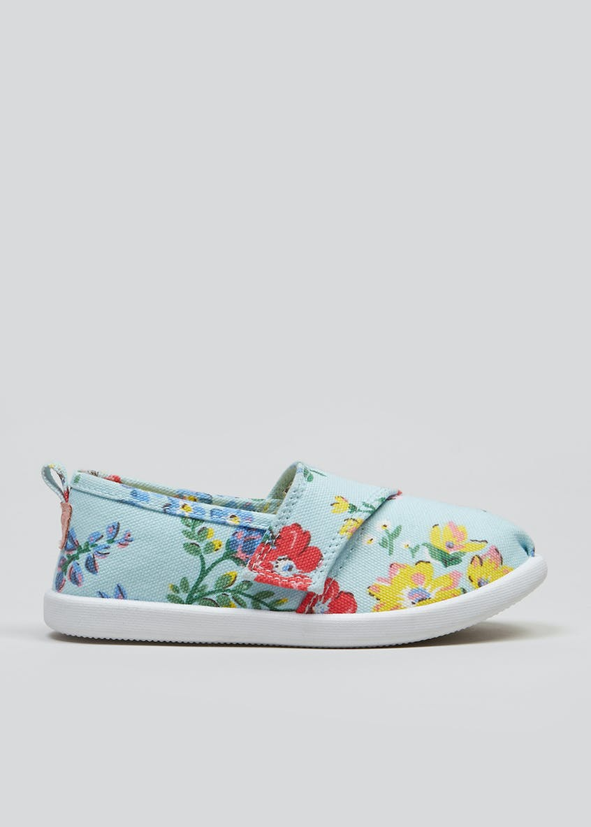 Girls Floral Slip On Canvas Pumps (Younger 4-12)