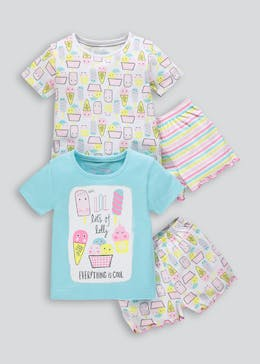 Girls 2 Pack Ice Cream Short Pyjamas (9mths-5yrs)