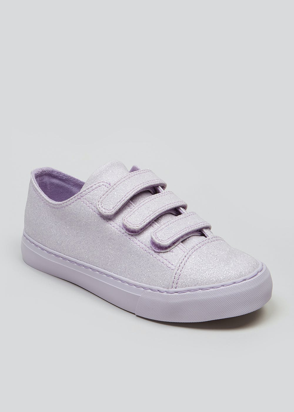 4376e9aeda0c Kids Riptape Glitter Canvas Trainers (Younger 10-Older 5) – Lilac ...