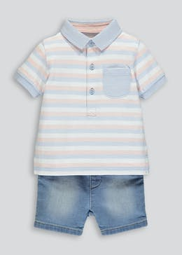 Boys Polo & Denim Shorts Set (Newborn-18mths)