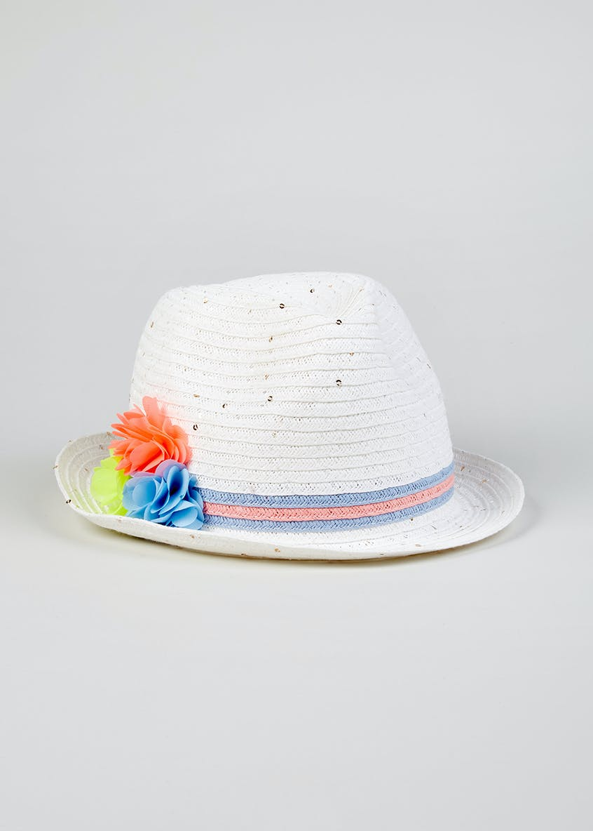 Girls Sequin Flower Straw Trilby Hat (4-13yrs)