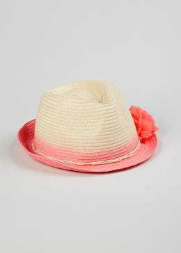 178e7601d23 Girls Ombre Flower Straw Trilby Hat (4-13yrs)