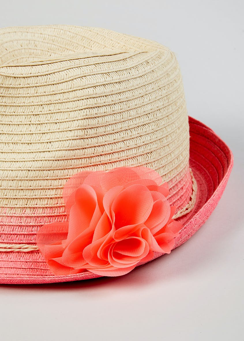 Girls Ombre Flower Straw Trilby Hat (4-13yrs)