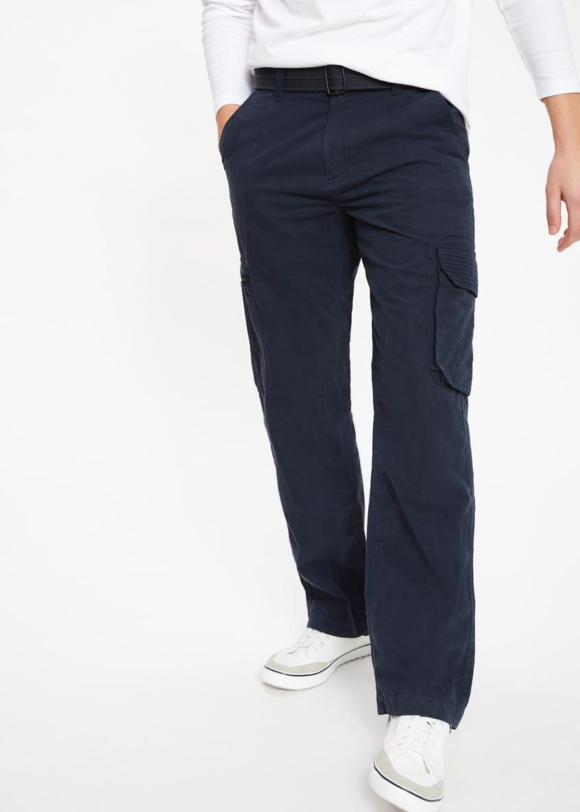 Big & Tall Straight Fit Belted Cargo Trousers