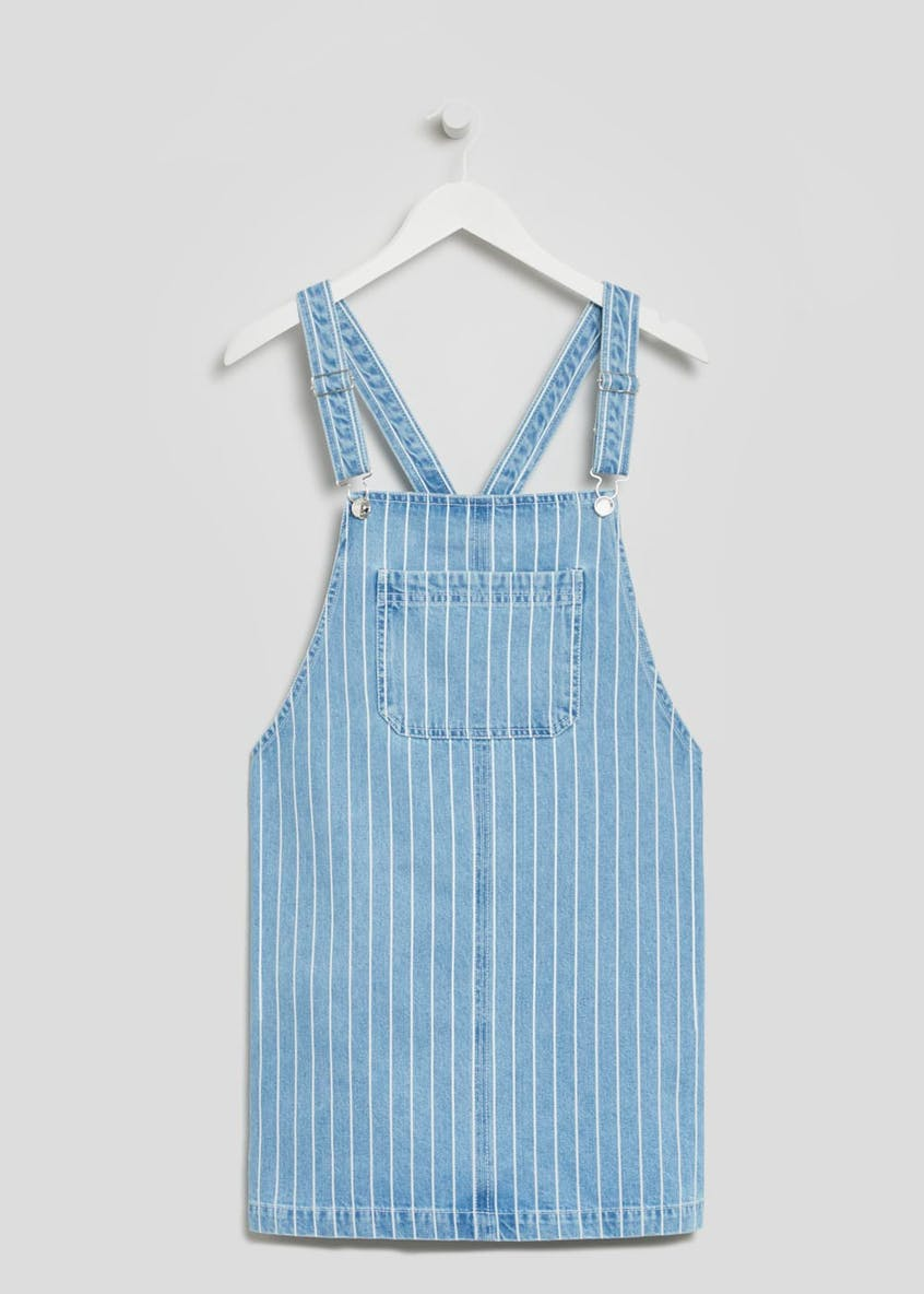 Stripe Denim Pinafore Dress