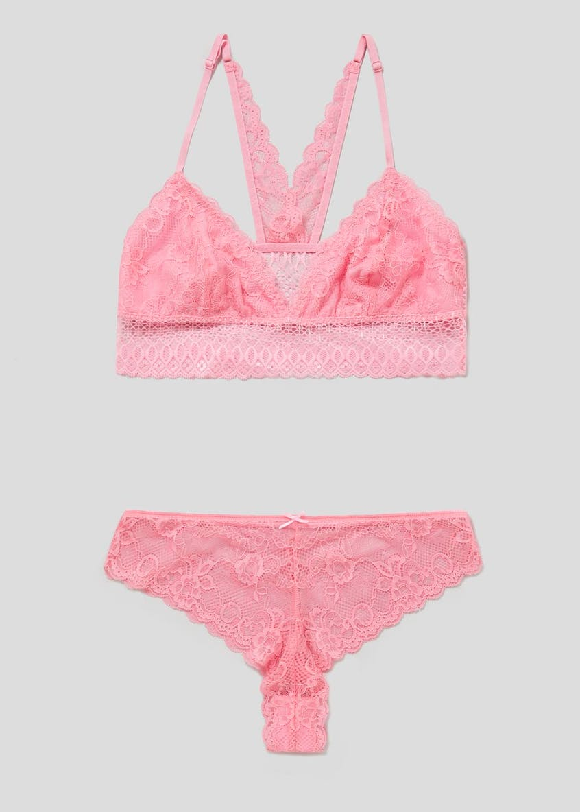 2 Pack Lace Bralette & Brazilian Knickers